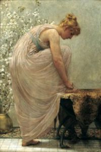 woman lacing a sandal  F. D. Millet