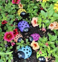 Lady bugs rock art!