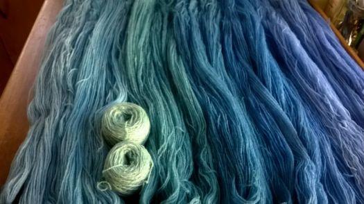 Handdyet yarn - blue and green