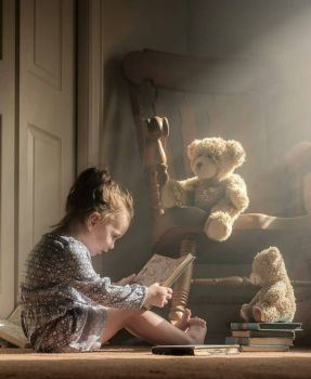 Little Girl Reading Winnie The Pooh To Her Teddy Bears, By Adrian C. Murray