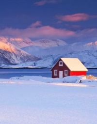 A Red House in Winter - Oslo, Norway...