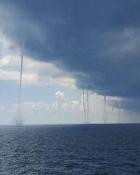 Multiple Waterspouts Off the Coast of Louisiana