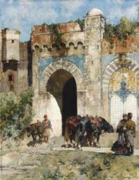 Alberto Pasini (Italian, 1826–1899), Watering the Horses