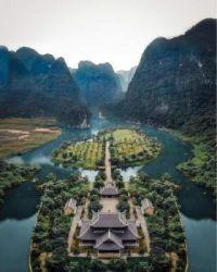 Temple Garden island  at Ninh Binh Vietnam.  5823