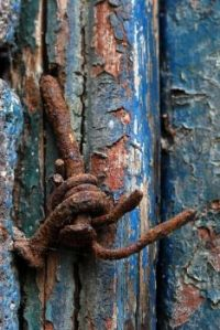 Rustic Blue Wood and Rusty Nail