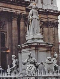 Detail of Sculpture outside St. Paul's Cathedral, London 1991