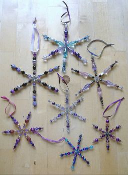 Christmas Tree Decorations - Snowflakes - Purples