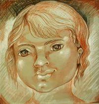 Happy Child .  (Conté crayons on ingres paper.)