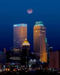 Moon Downtown Tulsa, OK by Jeff Flinn