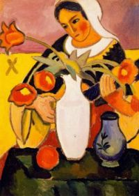 "August Macke -  ""Woman Playing The Lute"""