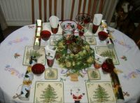 My Christmas Dining Table With Embroidered Table cloth