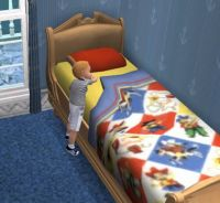 Toddler-Dexter O'Brien makes his bed
