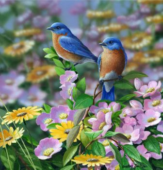 Bluebirds in the Flowers