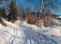 "Peder Mørk Mønsted, ""A Sunlit Winter Landscape"""