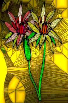 STAINED GLASS FLOWER B49
