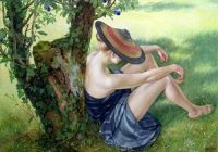 """""""Girl with Straw Hat Resting Against A Tree"""""""