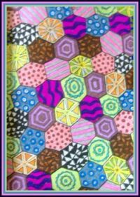 Art - Colouring - Mindfulness Colouring Diary - March - Hexagonal Patchwork (Largest)