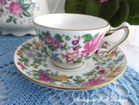 Floral Cup and Saucer Crown Staffordshire England
