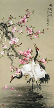 Oriental Cherry Blossoms over White Cranes