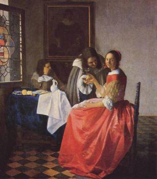 Woman and Two Men Jan Vermeer van Delft