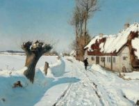 "Hans Andersen Brendekilde, ""A Talk by the Street Door on a Sunny Winter's Day."""