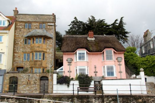 Houses along the sear front, Lyme Regis, Dorset.  Photo by Christine Matthews