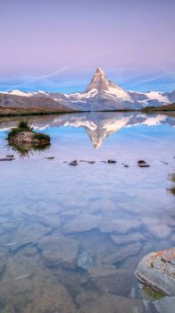 Matterhorn reflection in Lake Stellisee, Swiss Alps