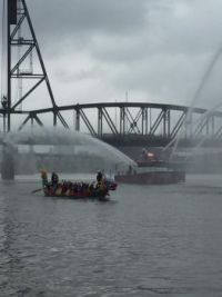 Dragon boat and fireboat