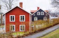 Red And Black Wood Houses
