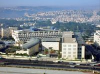 Israel From The Air. Jerusalem. In front, Ministry of Foreign Affairs building. Bank of Israel building behind it.