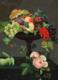 Painter unknown, Still Life with Fruits and Flowers (Danish, 19th century)