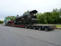 Train on low loader