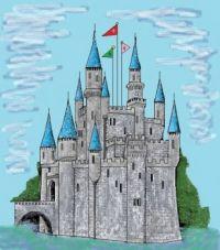 Castle on River Watercolor