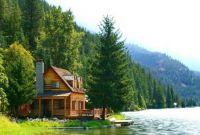 log cabin on a lake
