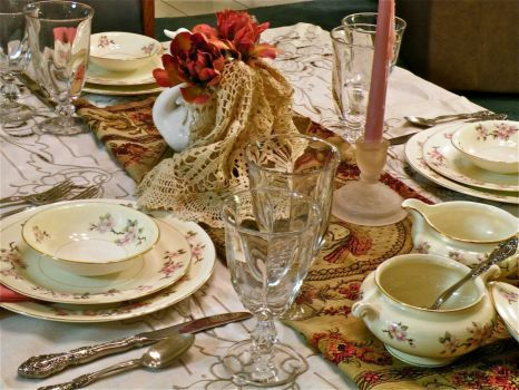 Tablescape with Lace