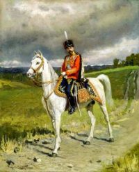 Emperor Nicholas II wearing a uniform of His Imperial Majesty's Life Guards Hussar Regiment