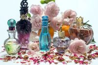 Perfume Bottles & Flowers Still Life