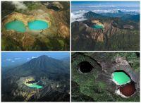 Kelimutu's tri-colour lakes.