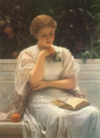 """Victorian Portrait, """"Woman In White, Reading"""" by Charles Edward Perugini"""