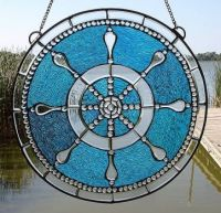 stained glass ships wheel