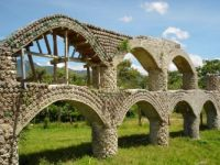 A Guatamalan aqueduct made with bottles and concrete.