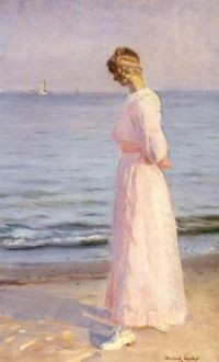 """Michael Ancher, """"On the Beach at Skagen"""", 1914"""