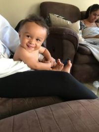 Great grandson Banx, 6 months old and getting cheeky!