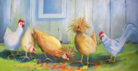 Chickens having their lunch