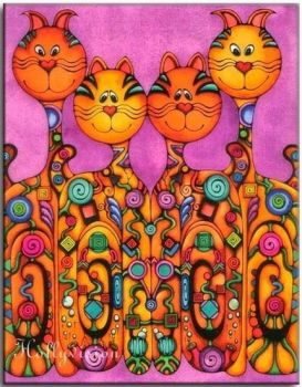 Happy psychedelic cats