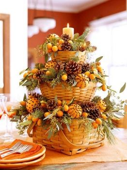 Autumn basket table centerpiece