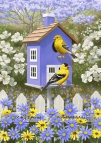 goldfinches-purple-birdhouse