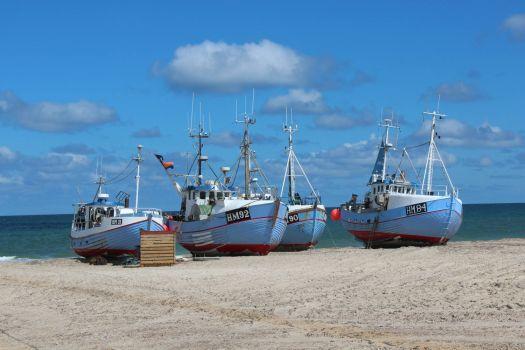 Fishing cutter on the beach in north jutland in Denmark
