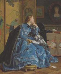 Alfred Stevens (Belgian,1823–1906), A Duchess (The Blue Dress) (1866)