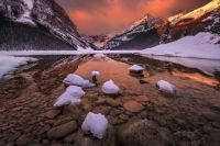 Wintery Lake Louise in  in Banff National Park in the Canadian Rockies, Alberta, Canada